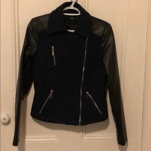 Navy jacket with leather sleeves